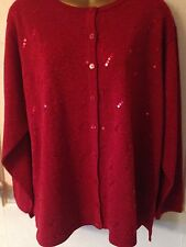 Woman's Fashion Sweater By Designer Dressbarn Size 18/20 Red Christmas Sequins