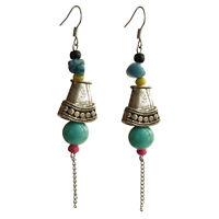Boucles D'oreilles femme argentées cône Argent Tibetain howlite bleu turquoise