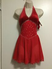 SALE! Icings NWT RED HALTER  ICE ROLLER DANCE SKATING  DRESS