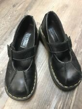 Dr Doc Martens Mary Jane Shoes 7 US 38 EU Black Leather Tooled Flowers 12277
