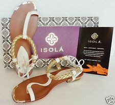 NEW $186, ISOLA Adena Woven Ankle Strap Leather Thong Sandal Flats Shoes [37] 6M