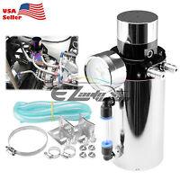 Silver Billet Aluminum Engine Oil Catch Tank Can Reservoir Breather Gauge #4