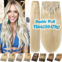 100% Remy Human Hair Extensions Full Head Clip In Thick Double Weft Blonde Q033