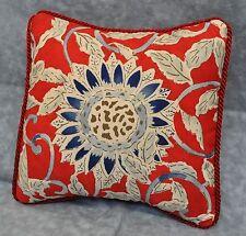 """Pillow made w Ralph Lauren Cote D' Azur Sunflower Floral Red & Blue Fabric 9"""""""