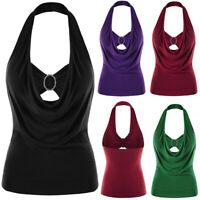 Summer Women Vest Plus Size Solid Sleeveless Embellished Halter Neck Tank Tops