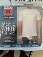 Mens Kirkland White 6 Pack TShirts Crew Neck Solid 100% Cotton Medium Undershirt