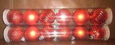 Red Christmas Decorative 2 .25   Inch Globes - Set of 12
