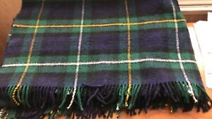 Made in Scotland Green Check 100% Wool Blanket/Throw 145 x 170 cm