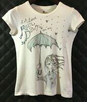 Heritage 1981 Women's Cream Color Girl In The Rain Graphic Tee Shirt Size Small/