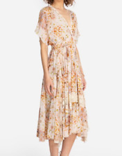 Johnny Was ODEYA RUFFLE Silk Maxi Dress Size L NWT $410