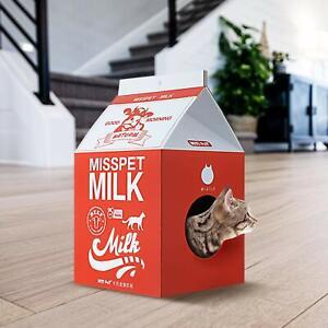 ScratchMe Cat Scratching Post Lounge Relaxing Condo Cat Scratcher Cardboard Red