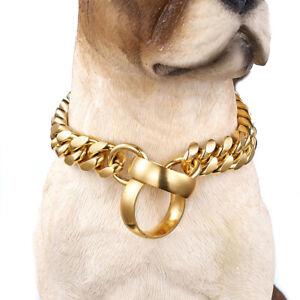 14mm Training Collars Gold Chain Choker Large Pet Dog Collar Dog Pitbull Bulldog