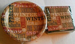 CHRISTMAS COCKTAIL PAPER PLATES & NAPKINS  SNOW FUN  50 Ct Plates & Napkins