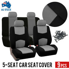 9Pcs/Set Universal Car Seat Covers Front&Rear Seat Back Head Rest Protector Gray