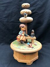 ANRI Carved Wooden Carved Girl Dog And Birds / Thorens Gigi Movement