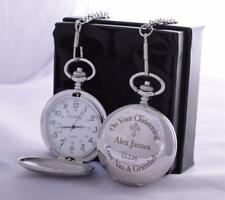 LASER Engraved CHRISTENING Design Pocket Watch Silk Gift Box For Godson/Baptism