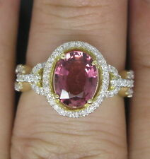 Solid 14K Yellow Gold Natural Pink Tourmaline Engagement Diamond Nice Ring