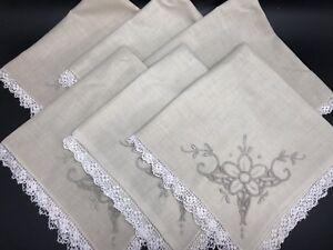 "Vintage Set 6 Madeira Style Hand- Embroidered Ecru 15"" Napkins w/ Lace (RF914)"