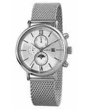 Relojes de pulsera de plata de acero inoxidable de día y fecha