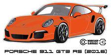 New! Collectable Sticker Porsche 911 GT3 RS 2016 LAVA ORANGE