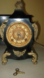 Antique Ansonia Mantel Clock Metal Case