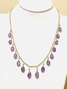Aneri SS 18K YG Amethyst and Pearl Necklace