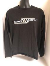 Nautica Jeans Co. Spell Out Logo Black Men's Long Sleeve T-Shirt Sz MEDIUM
