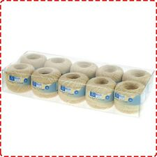 10 Reels x Birch Cream Crochet Cotton (Size 20) - Mercerised Natural Thread Yarn