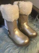Nwt Carter's Boots Toddler Girl Size 5 Tampico Gold Zip Up W/faux Fur Accent