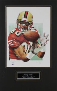 Jerry Rice Signed 49ers Custom Matted Ltd Ed Lithograph Display (Beckett COA)