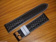22 mm Nero e Bianco GENOVA colore a contrasto SPORT cinturino in pelle