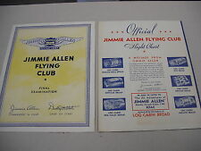 "2 ""JIMMIE ALLEN FLYING CLUB"" RADIO SHOW SPONSOR MAIL-IN PREMIUMS FROM 1934!"