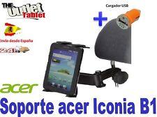 """SOPORTE REPOSACABEZAS PARA TABLET ACER ICONA B1 7"""" + CARGADOR USB"""