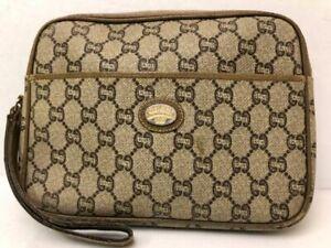 Authentic Gucci Plus GG Monogram Clutch Handbag Purse Italy Vintage Rare