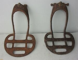 Pair of Antique Primitive Cast Iron Wagon Carriage Buggy Foot Step
