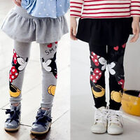 Kids Girls Minnie Mouse Leggings Skater Swing Skirt Dress Stretch Pants Trousers