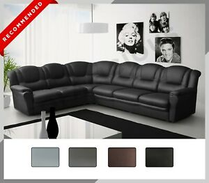 New LARGE TEXAS Corner Sofa Faux Leather 6 Seater Right or Left black grey brown