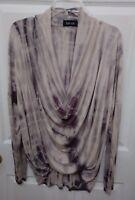 women's Fab-rik tan/Brown long sleeve scoop neck top size s