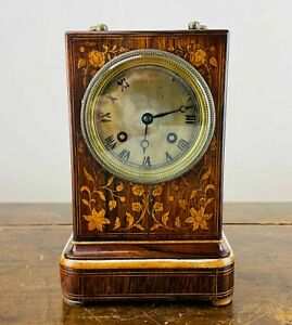 Antique French Officers Campaign Chiming Carriage Mantel Clock by Laine of Paris