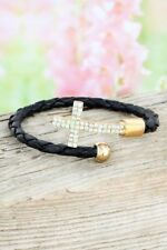 Cross Braided Faux Leather Crystal Bracelet, Trending Jewelry, Christmas Gift