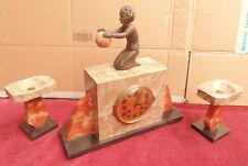 rare magnifique ancienne tres belle pendule art deco marbre1930 enfant signé