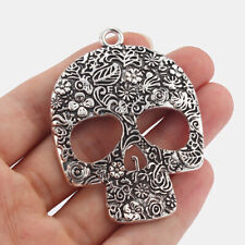 4 x Large Tibetan Silver Skull HALLOWEEN Charms Pendants For Jewellery Making