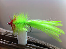 SEADUCER chartreuse/red CLASSIC FLY 2 FLIES 34007 #2 redfish tarpon  striper