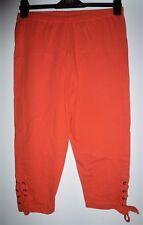 Damen Sommer stretch 3/4 7/8 Capri Hose Leggings orange Schnürung Gr. L - NEU