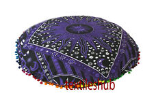"""28x28"""" Large Indian Handmade Mandala Floor Pillow Cover Round Cushion Covers"""