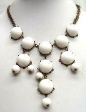 "Gold Tone 20"" Necklace! 6571E Stunning Vintage Estate White Bead"