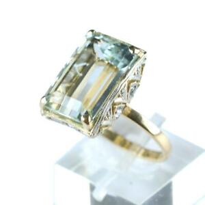 Estate 12ct Aquamarine, Diamond, Platinum and Yellow Gold Ladies Ring - Size 7,5