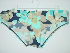 Gap Body dark multi blue gold tan floral print bikini swimsuit bottoms-XL-NWT