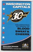 2003-04 WASHINGTON CAPITALS NHL POCKET SCHEDULE - 30th ANNIVERSARY SEASON!
