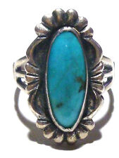 25mm SOUTHWESTERN VINTAGE STERLING SILVER & TURQUOISE WOMENS RING SIZE 9.25